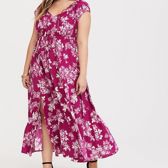 d1cf7dfa8249 torrid Dresses | Nwt Berry Floral Challis Maxi Dress 2x | Poshmark
